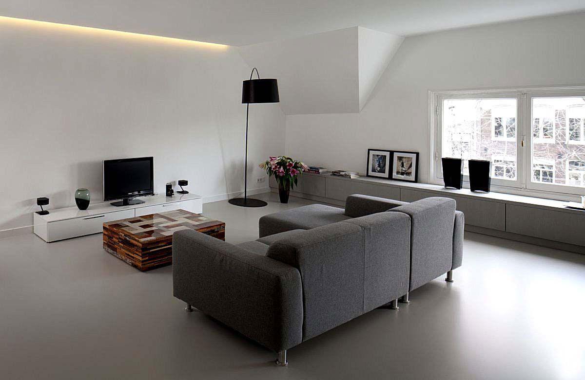 pavimenti in resina satinata grigio casa minimalista nel
