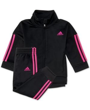 33e29e02375 adidas Baby Girls 2-Pc. Three-Stripe Jacket & Jogger Pants Set - Black 18M