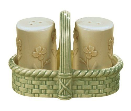 Grasslands Road Fresh Cuts 1.5 x 2.5 Inch Ivory Ceramic Salt and Pepper Shakers in 2.5 x 4.5 x 3.25 Inch Green  Ceramic Holder Gift Boxed by amscan - kitchen. $14.95. Ivory embossed ceramic floral motif and green ceramic basketweave pattern. Hand wash recommended. Material: ceramic. Ivory salt and pepper shakers in green ceramic basket. Bring a little springtime charm to any tablesetting.  Ivory ceramic salt and pepper shakers are embossed with spring flowers and sit in ...