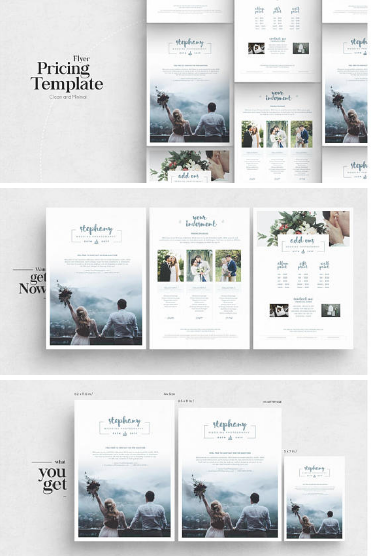 Pricing Guide Photoshop Template Design Photography Price Sheet List For Photographer