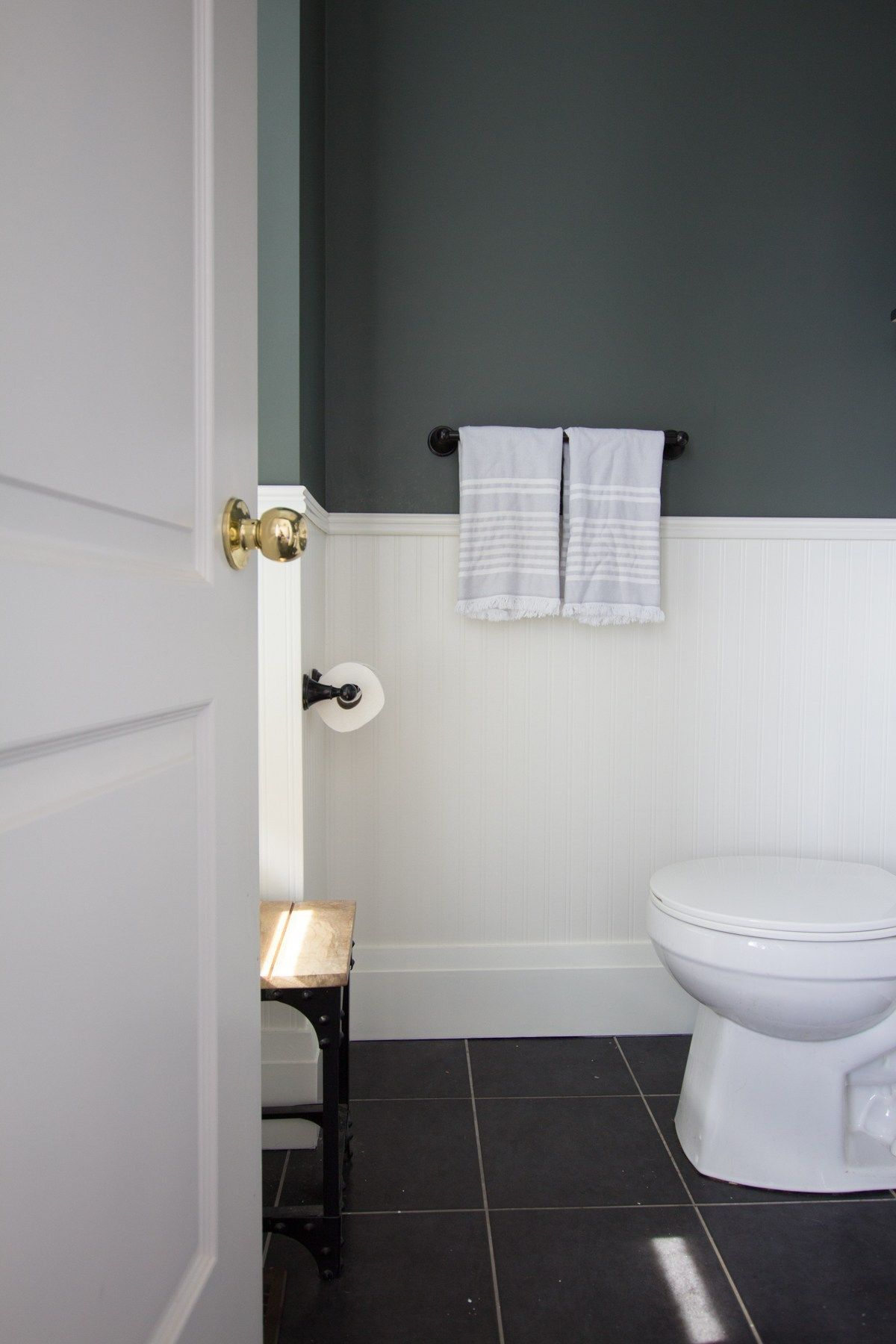 Modern Forest Green And Gold Powder Room Refresh House By The Bay Design In 2020 Country Bathroom Decor Chic Bathroom Decor Beadboard Wallpaper