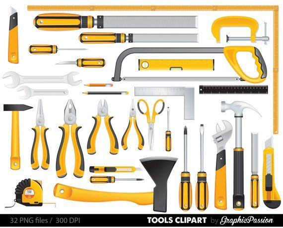 Yellow Tools Clipart Set Tools Clip Art Digital Files Helping