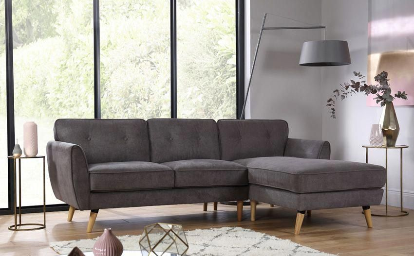 Harlow Slate Grey Fabric L Shape Corner Sofa Corner Sofa Furniture Corner Sofa Lounge