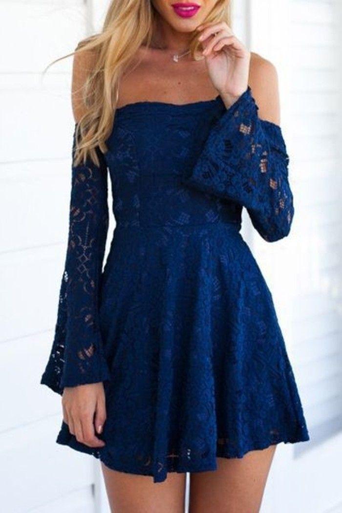 d4b9f32eb5 vestidos-de-fiesta-cortos-color-azul-mangas-largas-hombros-desnudos