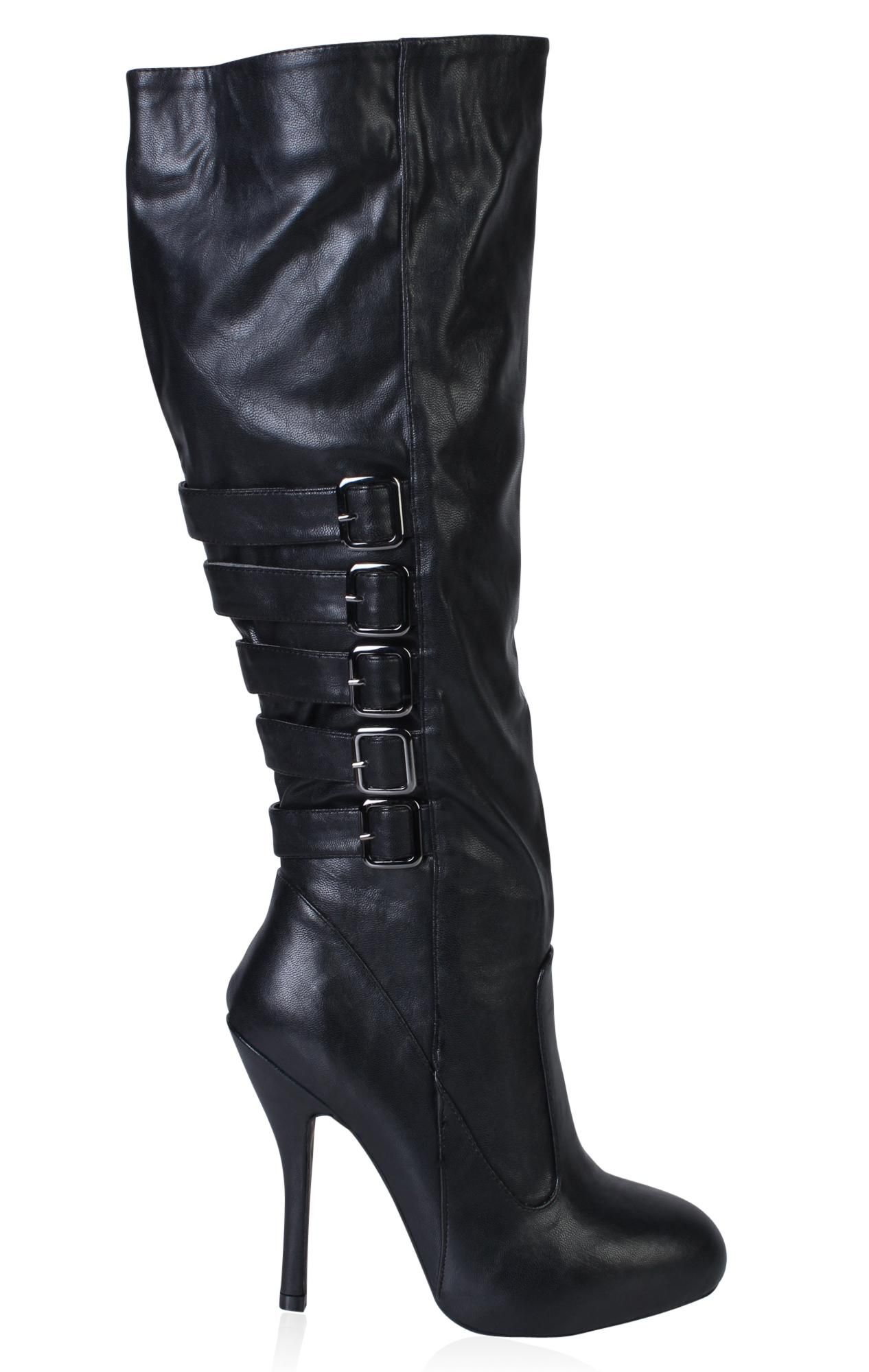 faux leather high heel boot Leather high heels, Leather