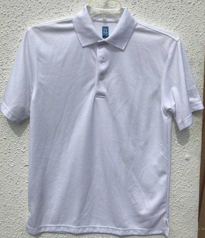 bb12add58 Men's PGA Tour White Golf Polo Airflux Shirt Size Small Short Sleeve ...