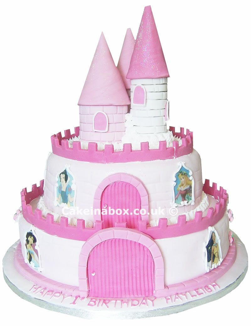 pink and blue castle cake | cake in a box - princess castle