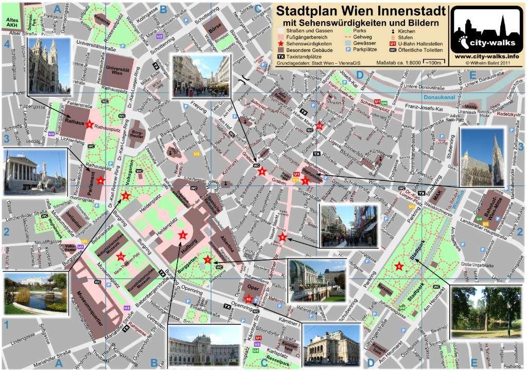 Vienna City Map Wien Stadtplan Sehenswurdigkeiten Vienna