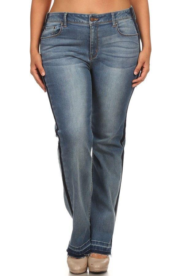 Mid Rise Side Stripe Jeans
