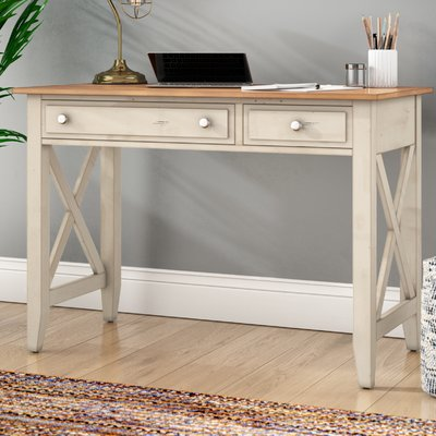 Beachcrest Home Bridgeview Solid Wood Writing Desk Wood Writing