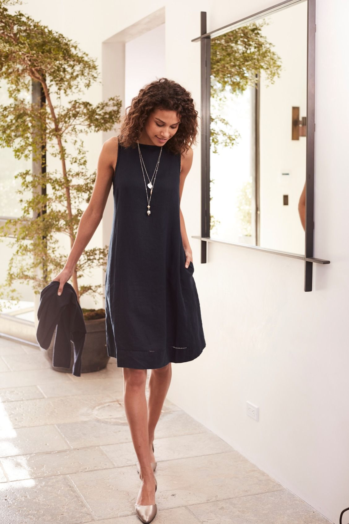 Spring Necessity A Go Anywhere Dress For Every Occasion Featuring J Jill S Linen A Line Slee Casual Dress Outfits Clothes For Women Black Dress Outfit Casual [ 1692 x 1128 Pixel ]