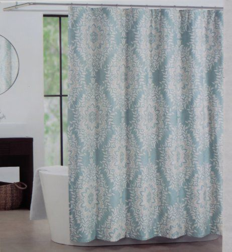 Shower Curtain Fabric Tahari Home Diamond Damask In Teal Blue