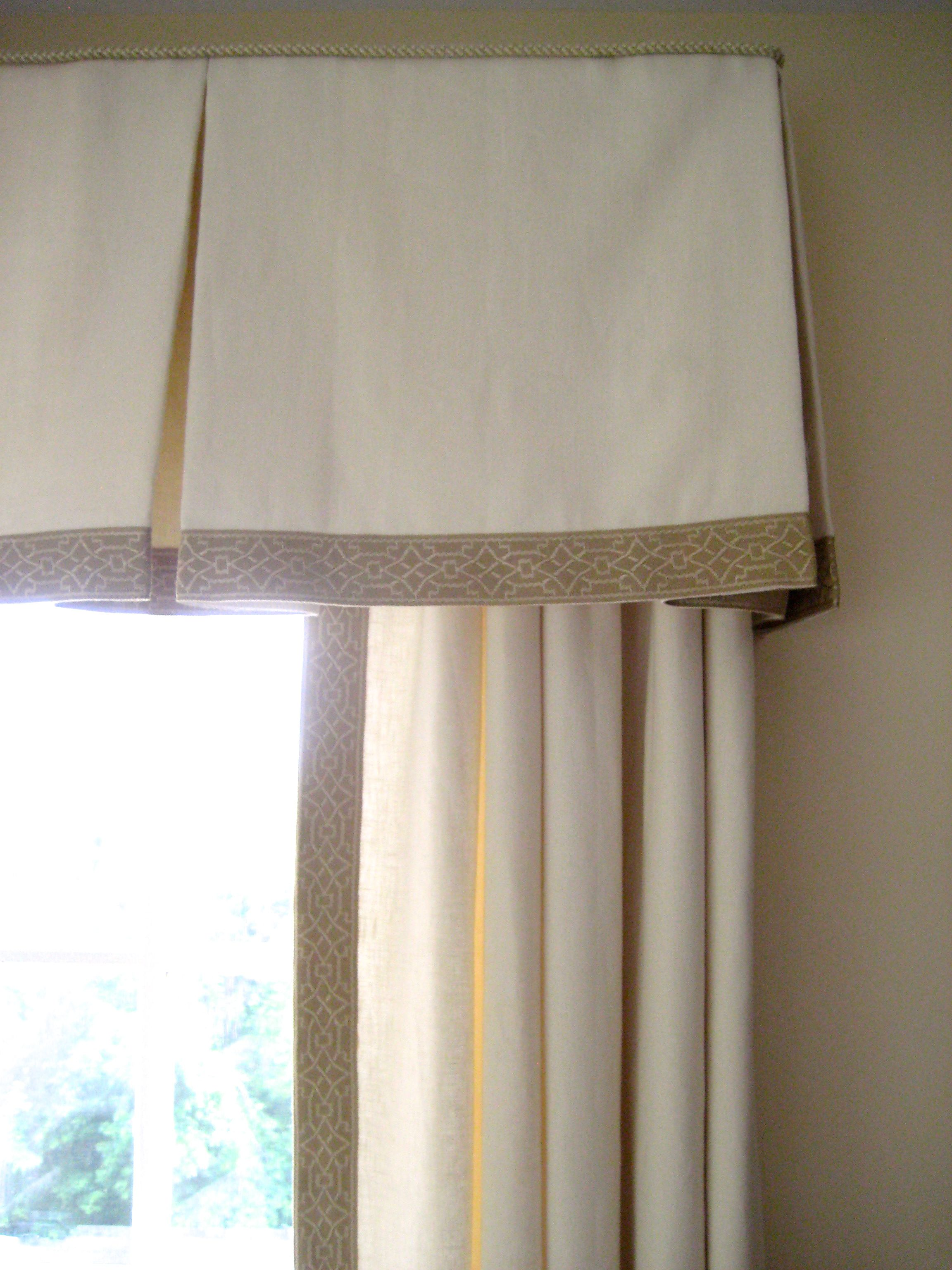 Classic Beige Embroidered Tape Trim On Box Pleated Valance Www Drapery Design Com Drapery Designs Custom Window Coverings Box Pleat Valance