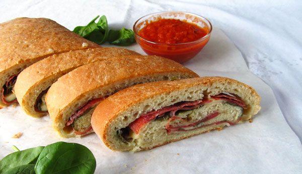 Salami, Spinach, and Mozzarella Pizza Roll