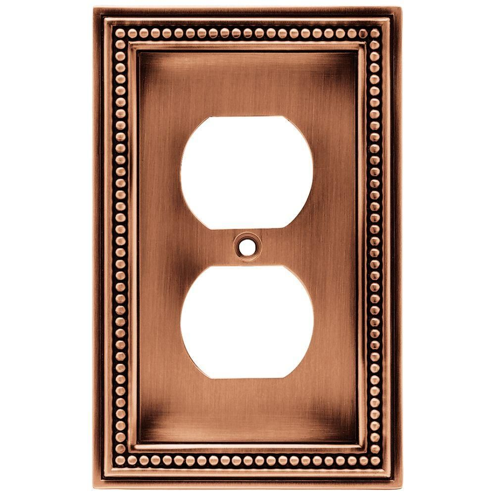 Beaded 1 Duplex Outlet Wall Plate- Aged Brushed Copper