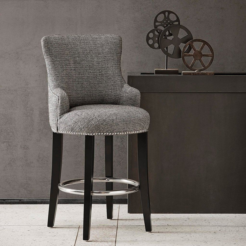 Astonishing Taylor Counter Height Stool Grey W Chrome Nailhead Accents Ibusinesslaw Wood Chair Design Ideas Ibusinesslaworg