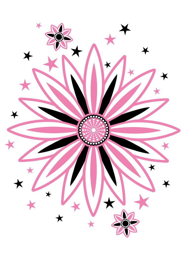 Henna Tattoo Care Vaseline: Star Flower - Pink And Black Temporary Tattoo