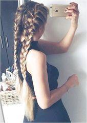 trenza holandesa doble | peinado largo | simple | con extensiones de cabello | raíz oscura …, # temeroso …