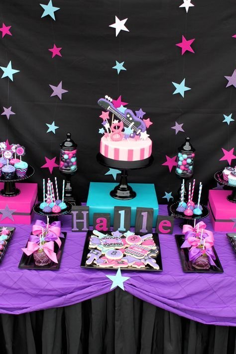 rockstar birthday party rock star girl dessert table #rockstarparty