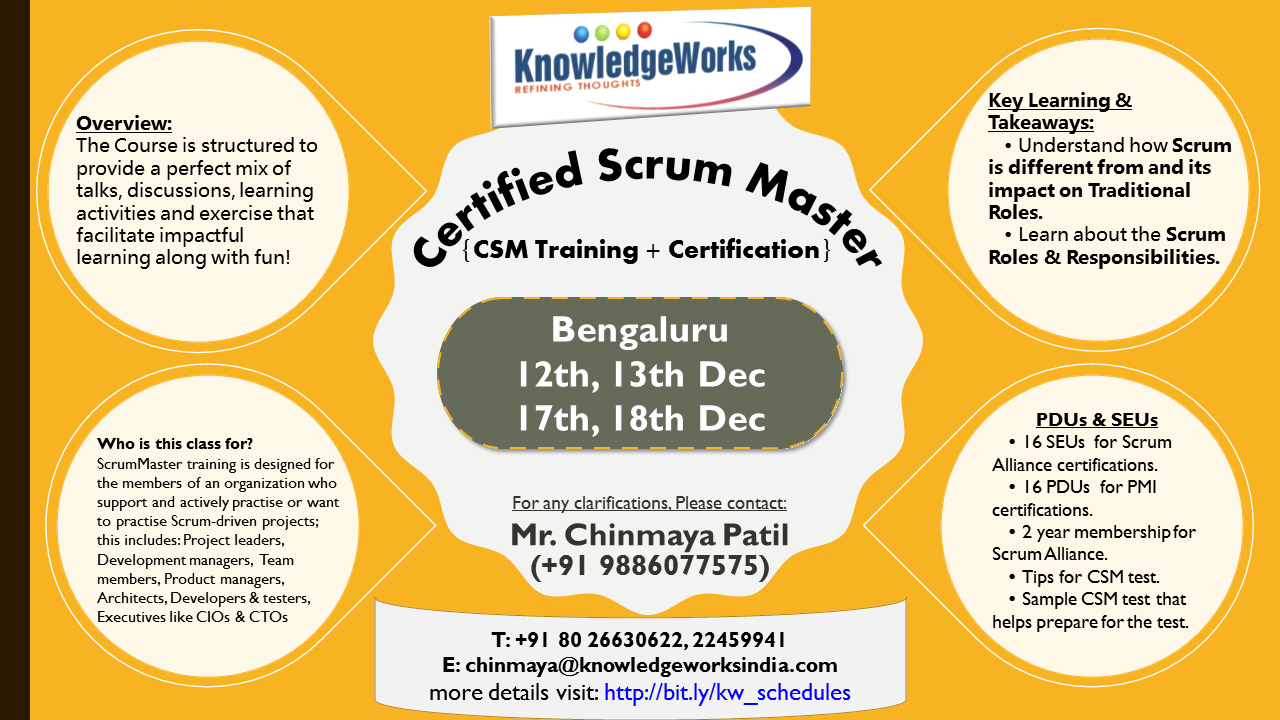Certified Scrum Master Csm Training Certification Bengaluru