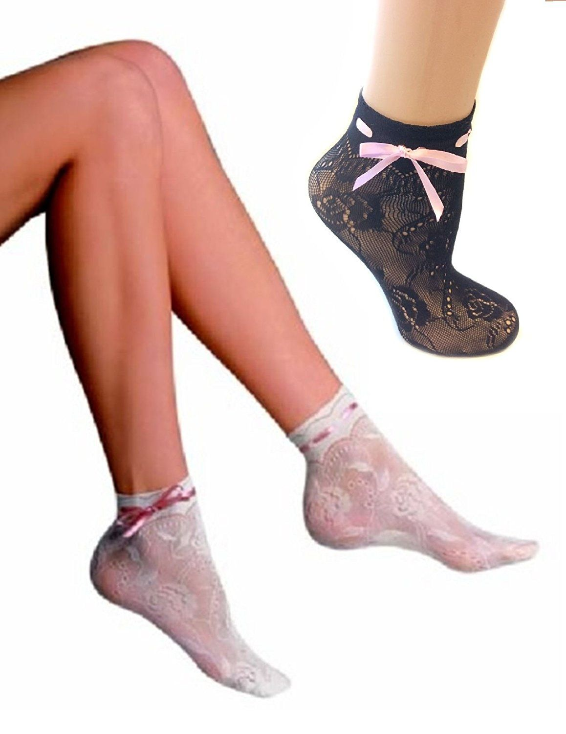 aaa0f8e421c7 Sexy Penti Adriana Microfiber Fishnet Ankle Highs Black with Pink Ribbon  Lace at Amazon Women's Clothing store: