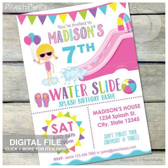 Splash Waterslide Birthday Invitation Party Water Slide