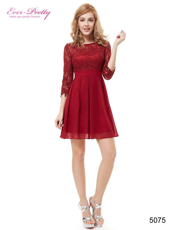 Women cute marsala sleeve short cocktail dress fashion