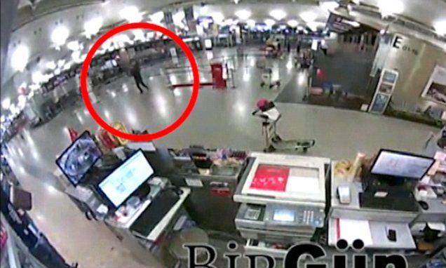 Istanbul CCTV shows passengers fleeing man armed with a Kalashnikov