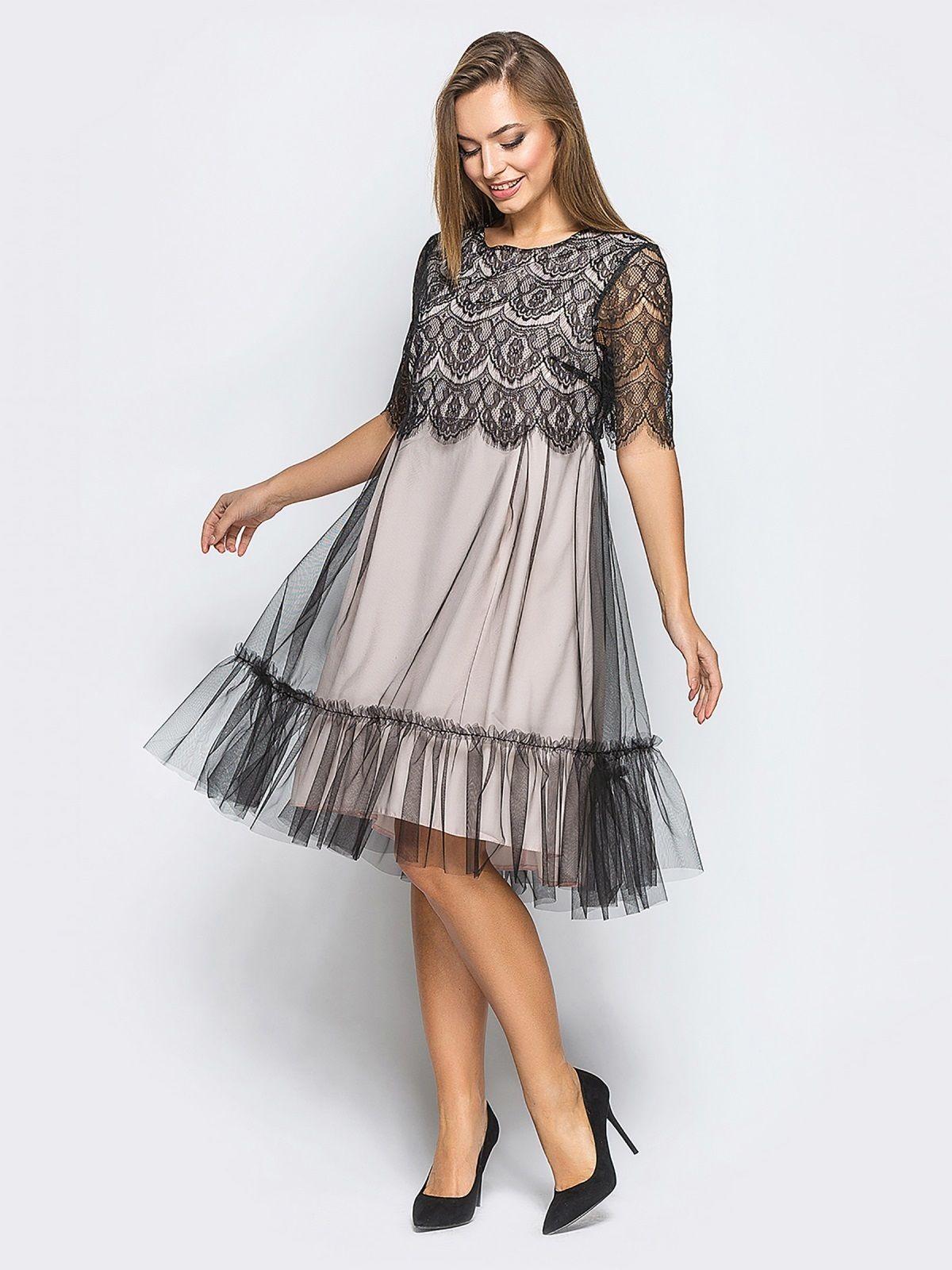 55f8b2be9ed23aa Трикотажное платье с верхом из гипюра и оборкой из фатина 17434 – купить в  Киеве,