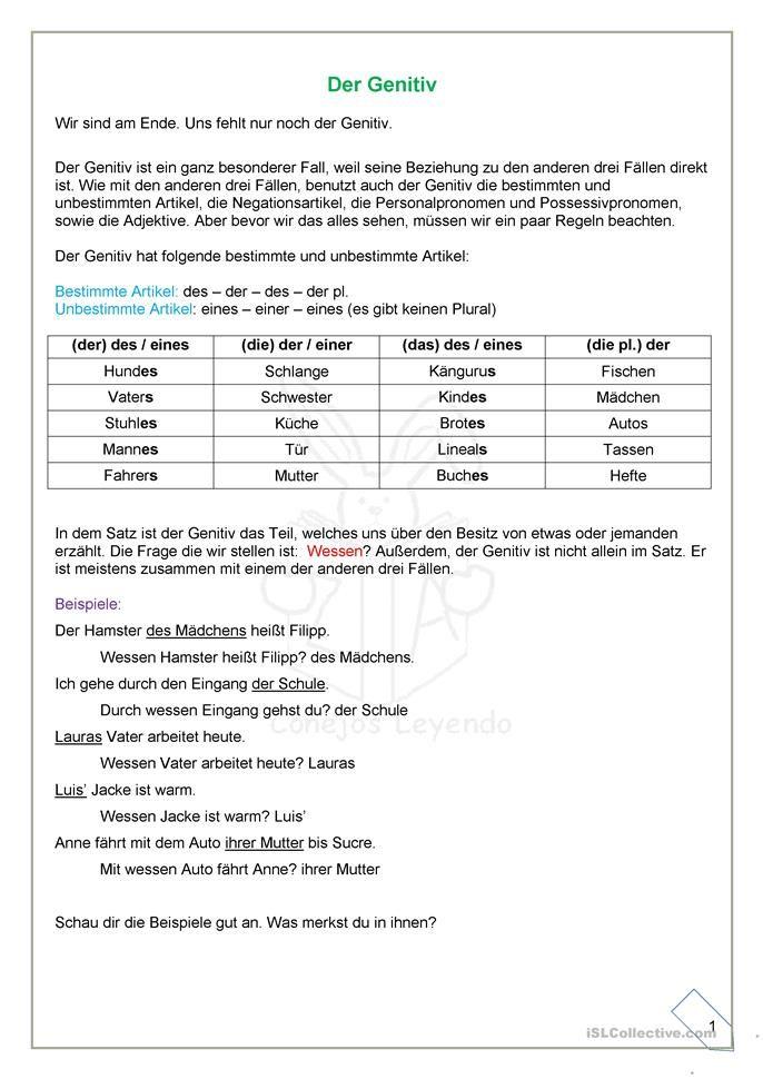 Der Genitiv Erklärungen und Übungen | DEUTSCH | Pinterest ...