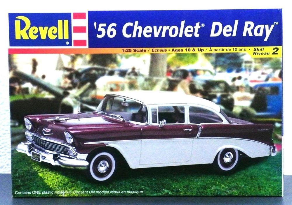 Revell 56 Chevy Del Ray 1 25 Scale Plastic Model Car Kit Parts Sealed 85 2349 Plastic Model Kits Cars Model Cars Kits Chevy Models