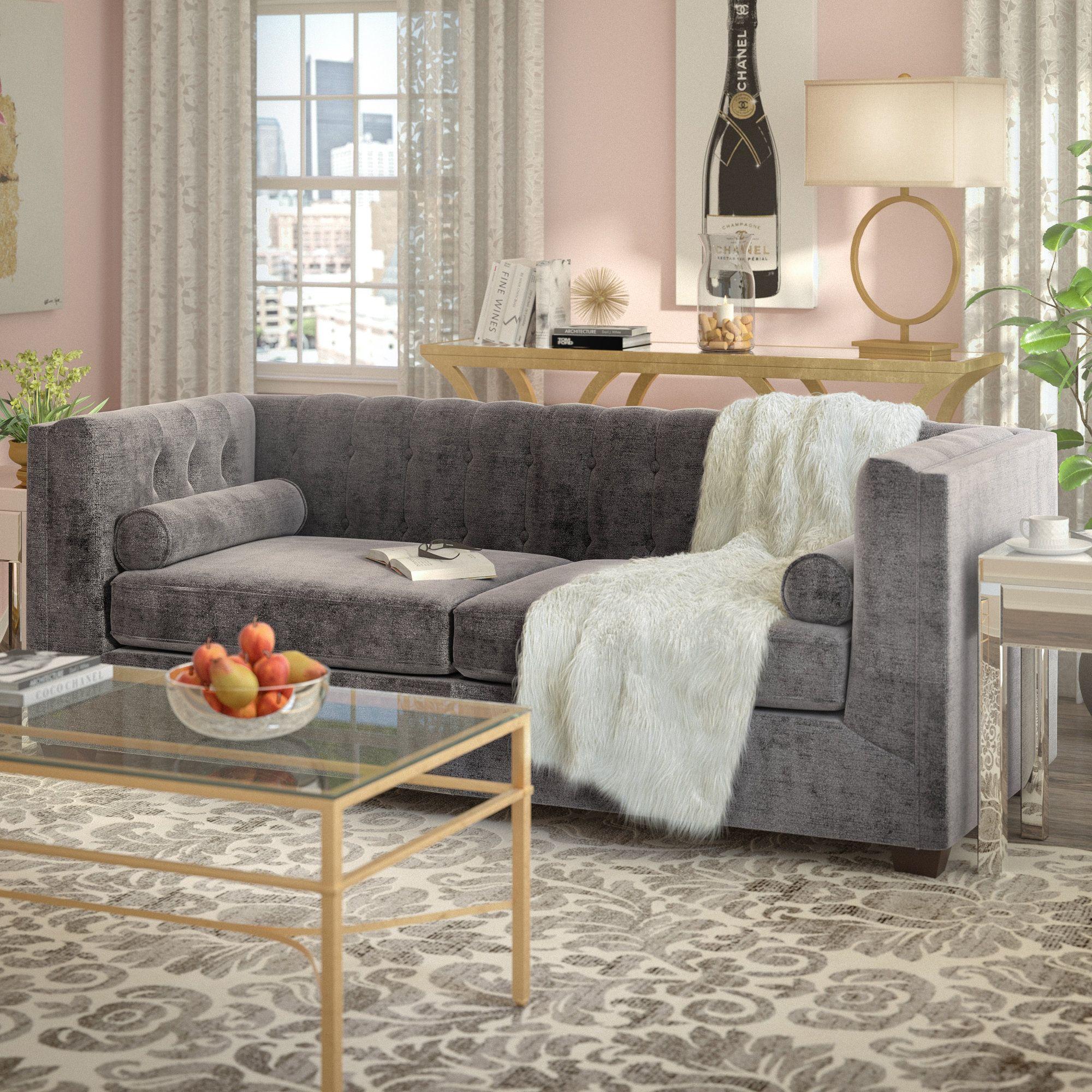 Kelly Clarkson Home Andre Velvet 87 Tuxedo Arm Sofa Furniture Best Sofa Sofa Upholstery [ 2000 x 2000 Pixel ]
