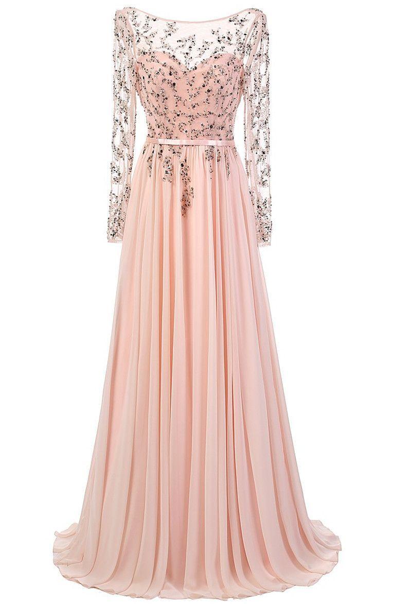 Elegant aline scoop prom dressesfloor length pink chiffon prom