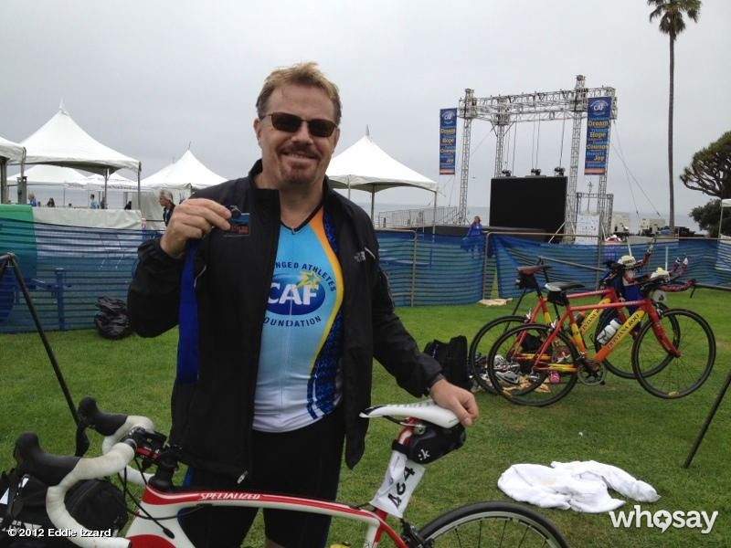 "Eddie Izzard's, photo,""Just finished a 55 mile Triathlon in San Diego, organis…"""