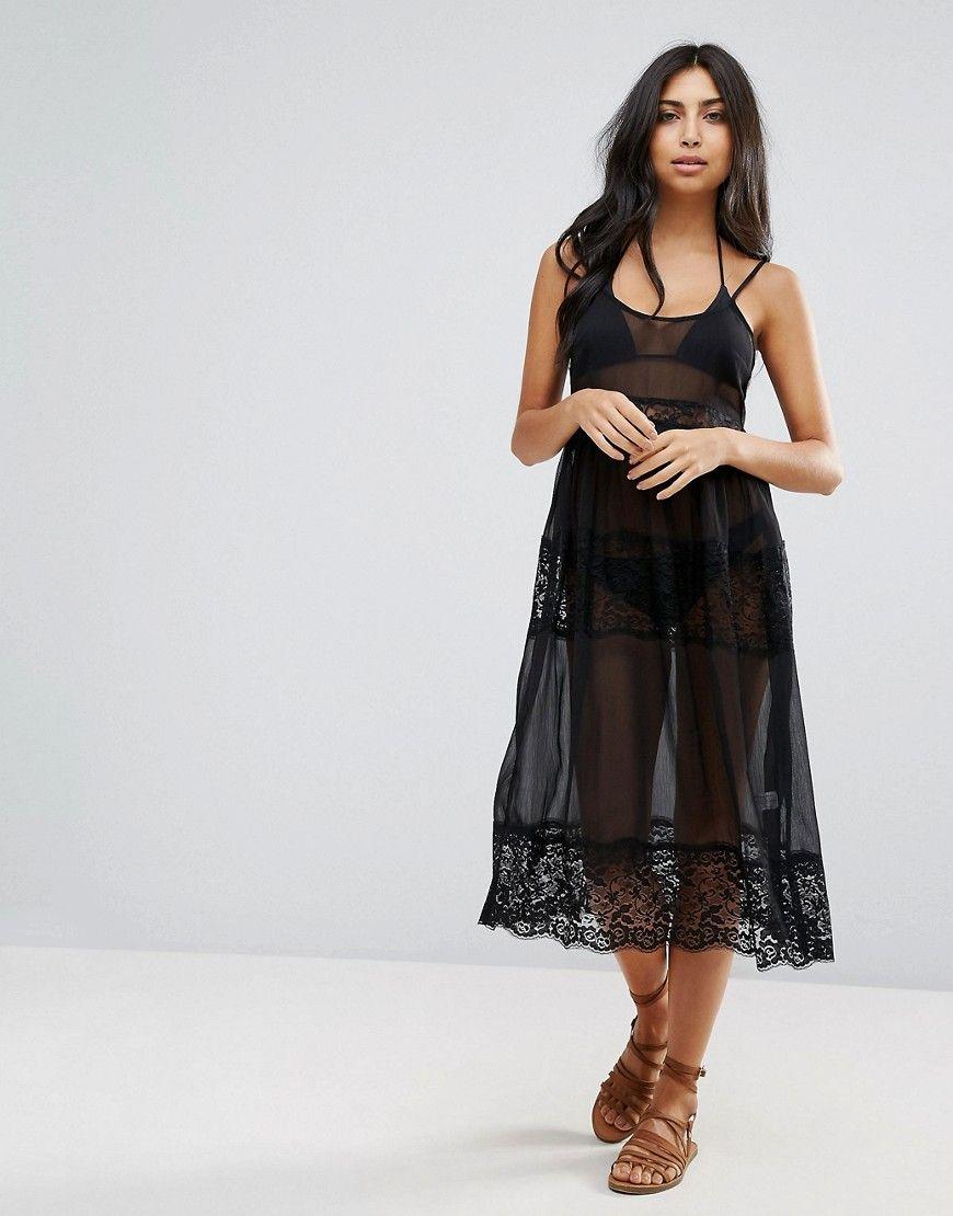 d3a76f3223162 ASOS Lace Trim Midi Beach Dress - Black | Products | Beach dresses ...