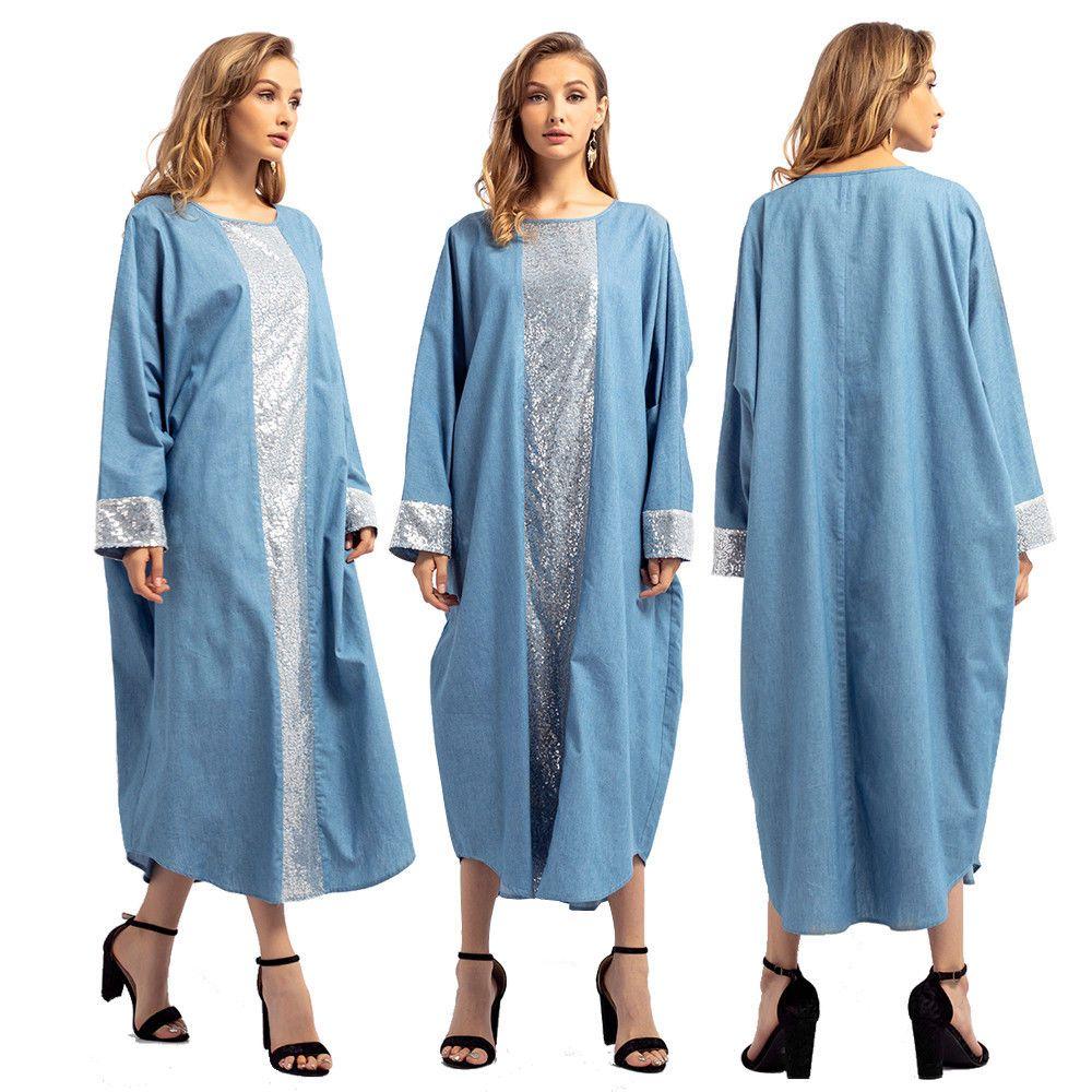 Muslim women denim long sleeve maxi dress loose abaya kaftan dubai