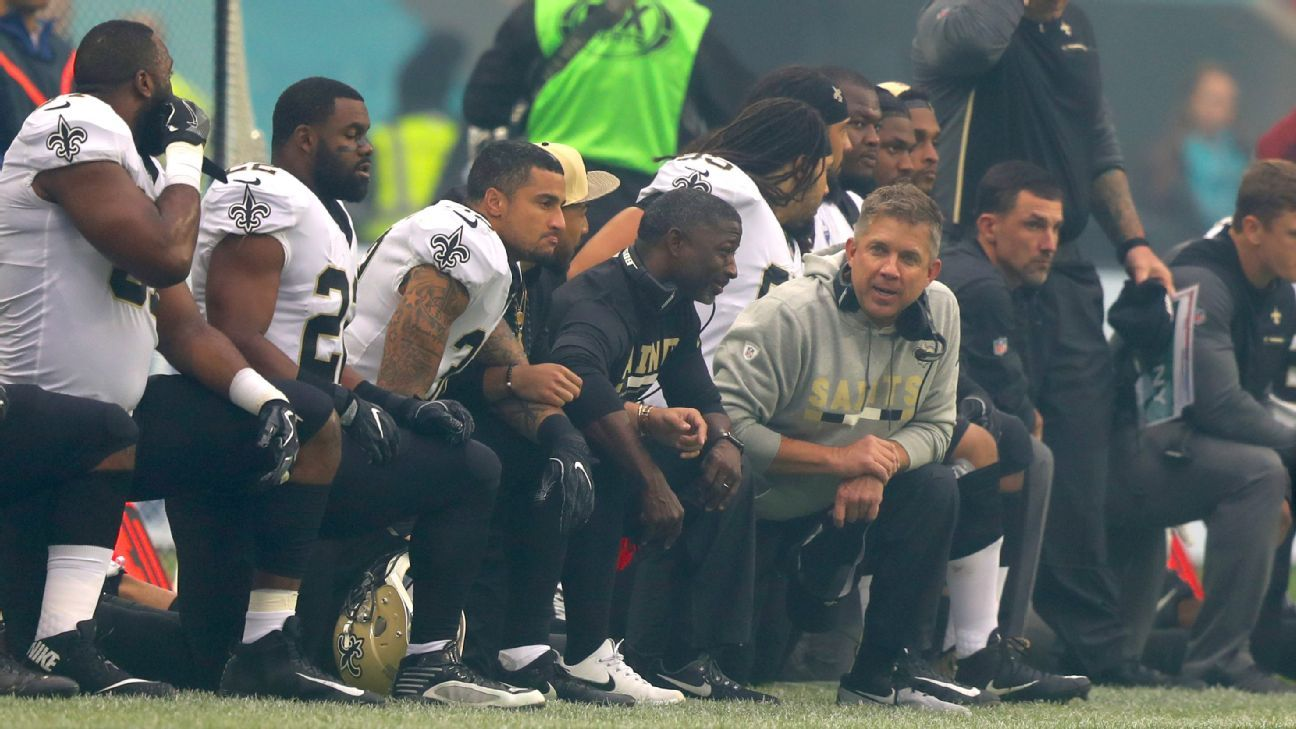 Three Dolphins Kneel For National Anthem Prior To Game In London New Orleans Saints Wembley Kneeling National Anthem