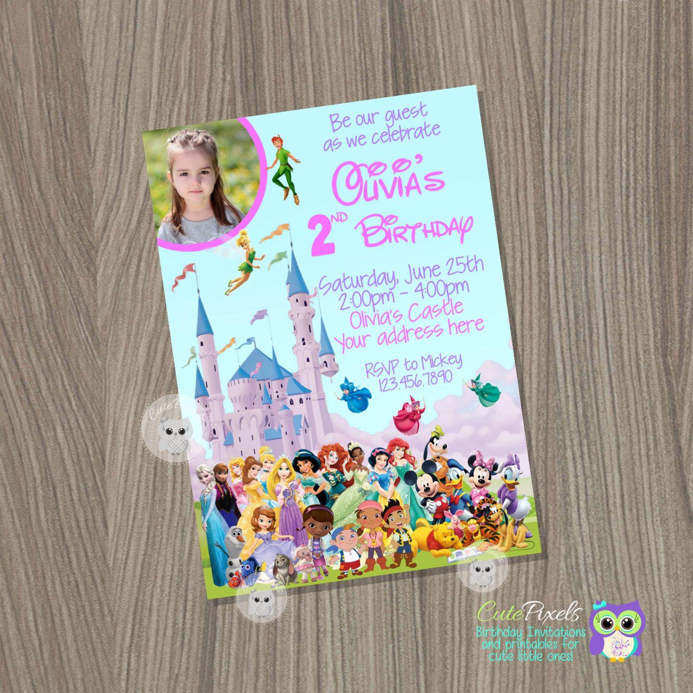 Disney Castle Invitation Disney Characters Invitation Disney