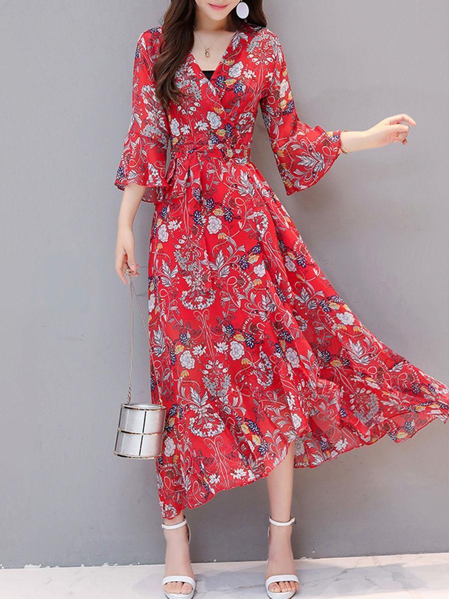 Flowy vneck printed chiffon bell sleeve maxi dress in i