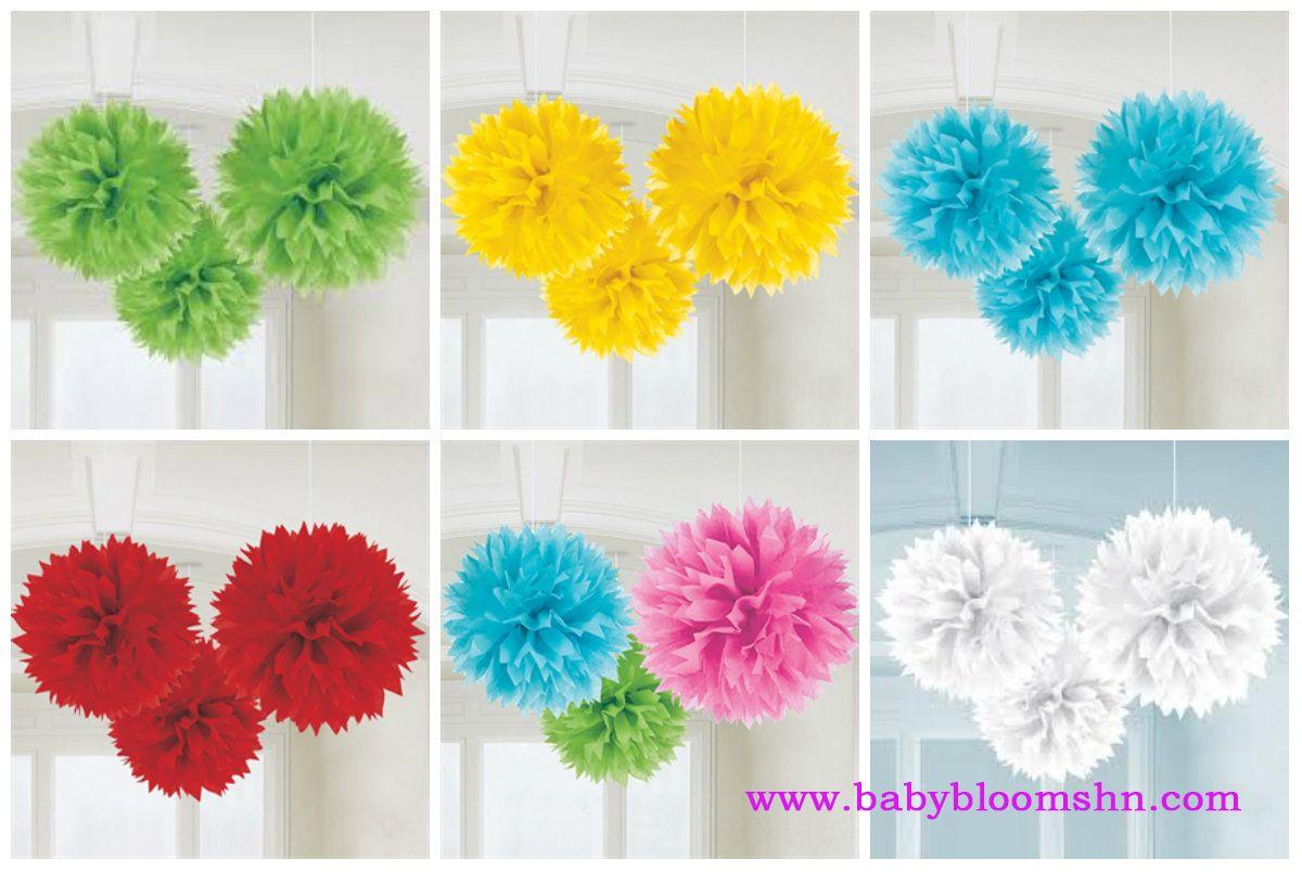 Baby Pompones de papel de color rosa, ideales para la decoración de fiestas de cumpleaños, baby showers, primavera, comuniones o bodas. Miden aprox. 40cm de diámetro.
