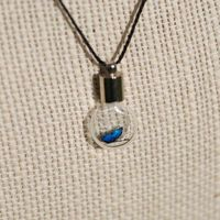 Blue Tiny Butterfly in Glass Bulb on Black Silk Necklace