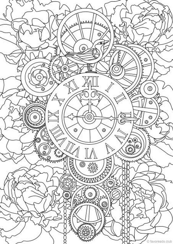 Steampunk Clock - Printable Adult Coloring Page from Favoreads ...