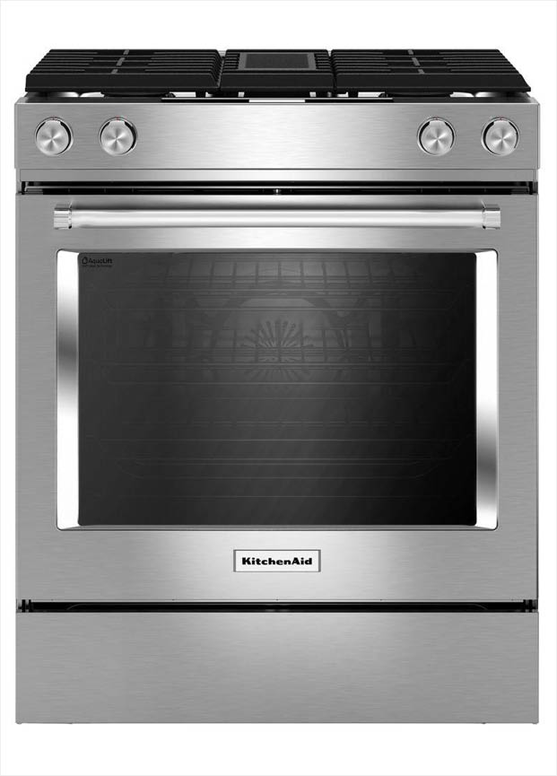 Kitchenaid 6 4 Cu Ft Downdraft Slide In Dual Fuel Range With Self Cleaning Convection Oven In Stainless Steel Ksdg950ess The Home Depot In 2020 Kitchen Aid Slide In Range Range Cooker