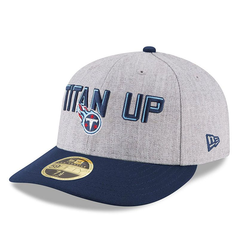 best loved 4ce2f 5f06e Tennessee Titans New Era 2018 NFL Draft Official On-Stage Low Profile 59FIFTY  Fitted Hat – Heather Gray Navy