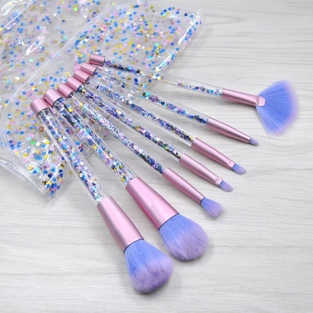 Glitter Water Makeup Brushes + Case Makeup brush case