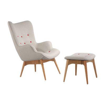 Corrigan Studio Ali Mid Century Arm Chair and Ottoman Color French