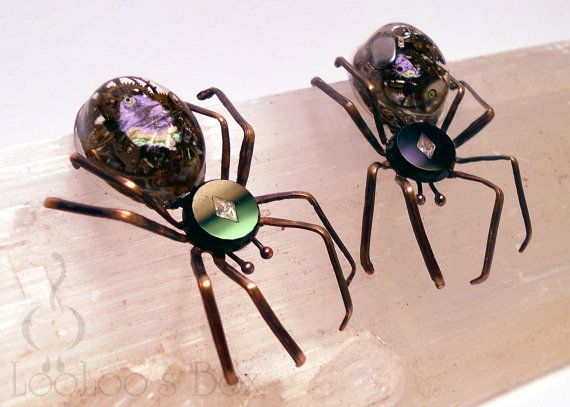 Victorian Steampunk Earrings SPIDER ArachneMachina by LooLoosBox, $84.00