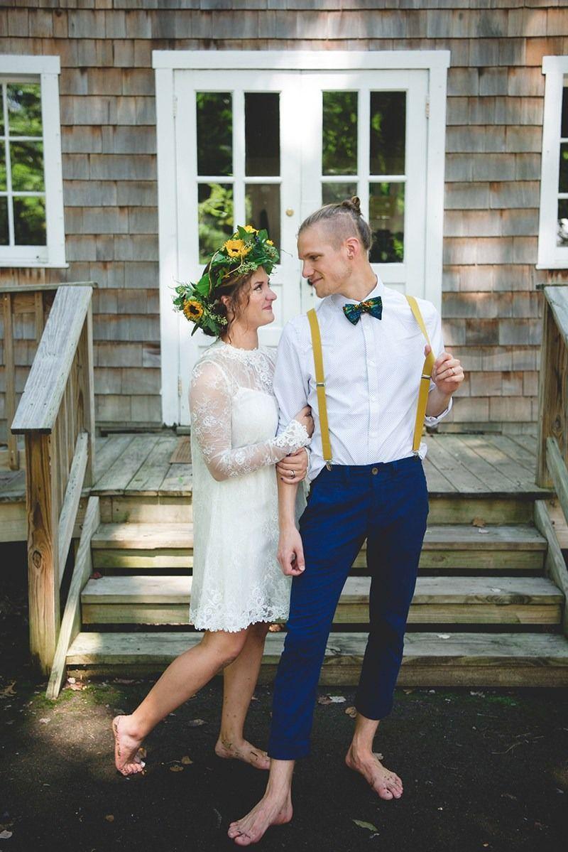 A barefoot travelthemed summer camp wedding happy tears short