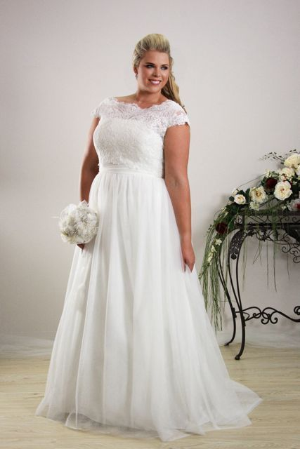 Brocade Lace Wedding Dress For Plus Size Brides With Cap Sleeves
