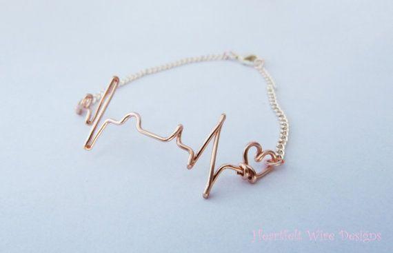 Ekg Bracelet Rose Gold Heartbeat By Heartfeltwiredesigns 12 50